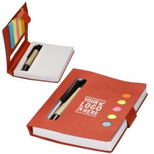 promotional notebook with pen in cover