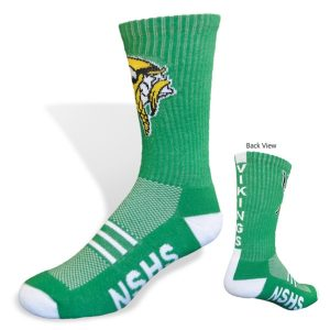 green custom crew socks for schools